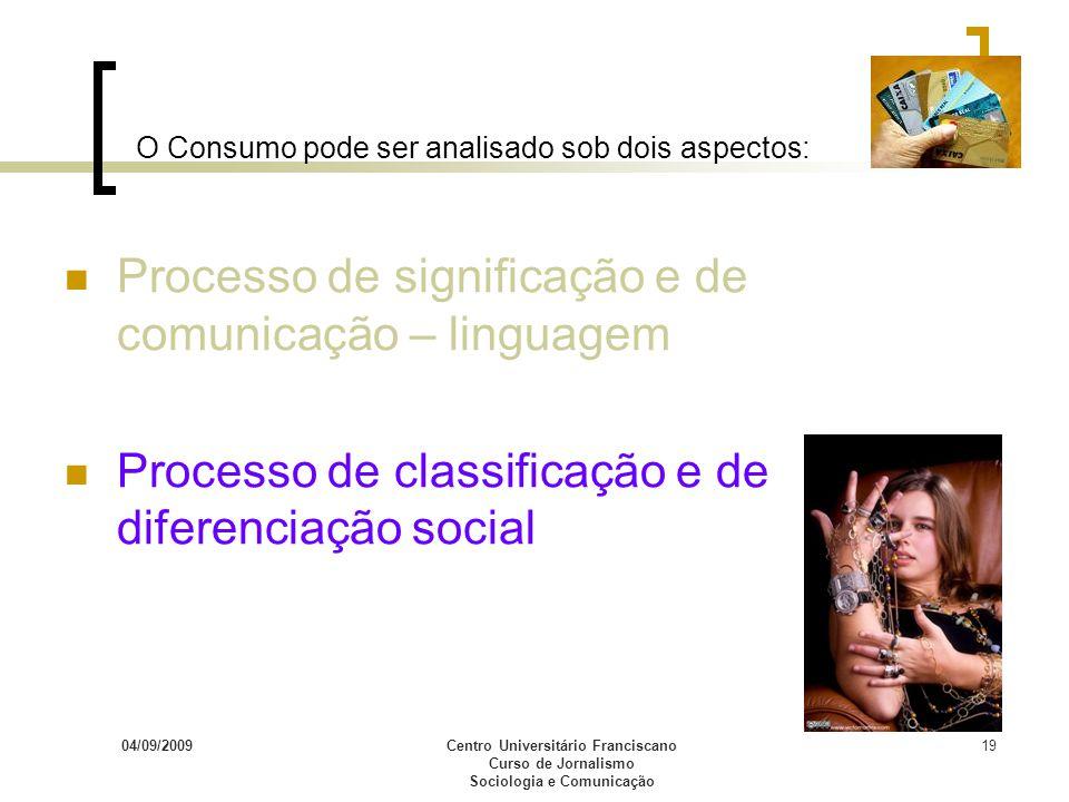 04/09/2009Centro Universitário Franciscano Curso de Jornalismo Sociologia e Comunicação 19 O Consumo pode ser analisado sob dois aspectos: Processo de