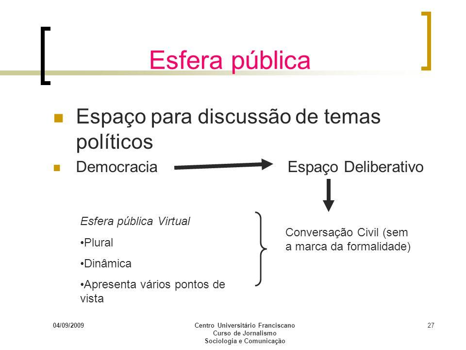 04/09/2009Centro Universitário Franciscano Curso de Jornalismo Sociologia e Comunicação 27 Esfera pública Espaço para discussão de temas políticos Dem