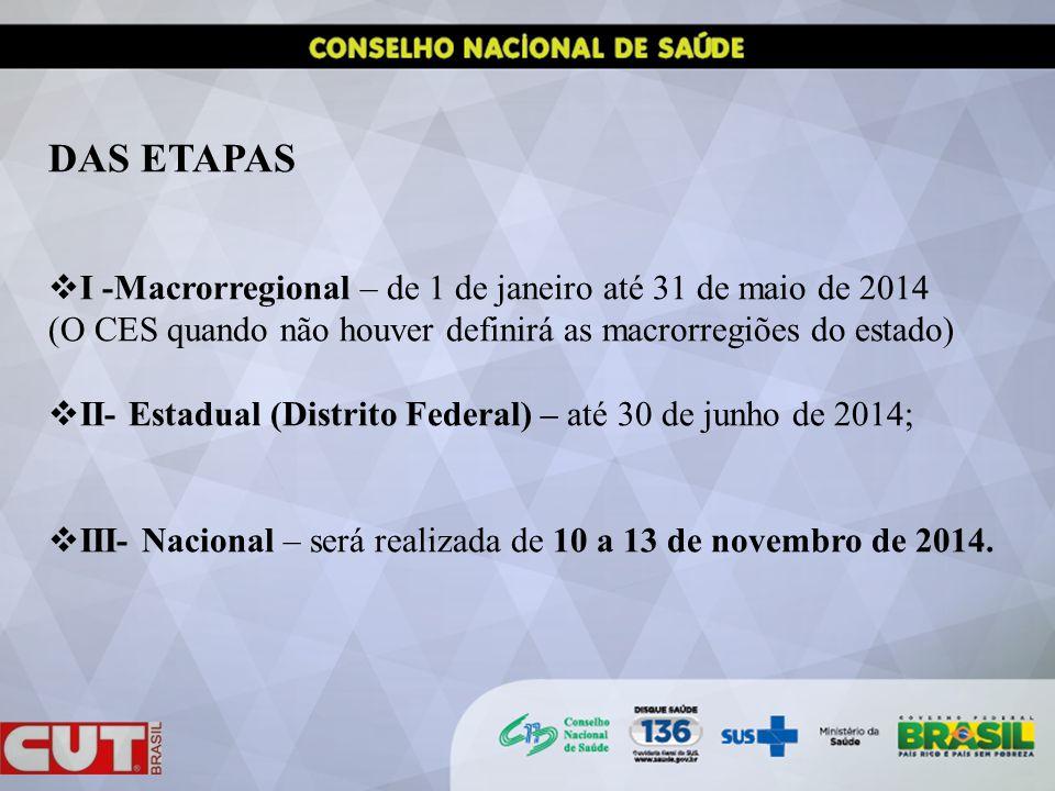 DAS ETAPAS I -Macrorregional – de 1 de janeiro até 31 de maio de 2014 (O CES quando não houver definirá as macrorregiões do estado) II- Estadual (Distrito Federal) – até 30 de junho de 2014; III- Nacional – será realizada de 10 a 13 de novembro de 2014.