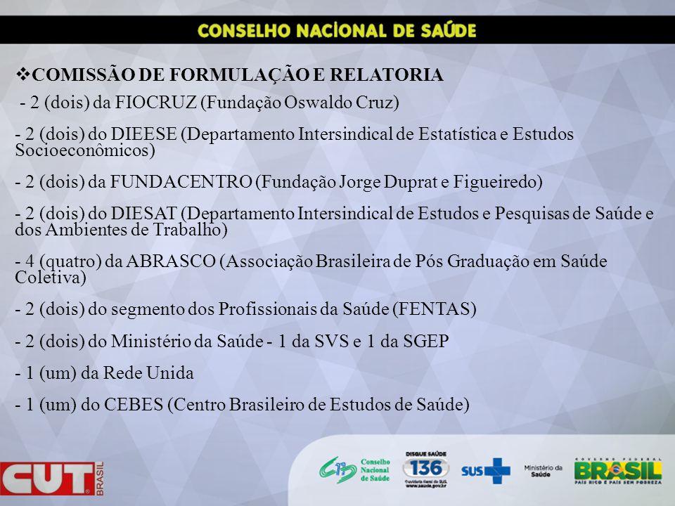 COMISSÃO DE FORMULAÇÃO E RELATORIA - 2 (dois) da FIOCRUZ (Fundação Oswaldo Cruz) - 2 (dois) do DIEESE (Departamento Intersindical de Estatística e Estudos Socioeconômicos) - 2 (dois) da FUNDACENTRO (Fundação Jorge Duprat e Figueiredo) - 2 (dois) do DIESAT (Departamento Intersindical de Estudos e Pesquisas de Saúde e dos Ambientes de Trabalho) - 4 (quatro) da ABRASCO (Associação Brasileira de Pós Graduação em Saúde Coletiva) - 2 (dois) do segmento dos Profissionais da Saúde (FENTAS) - 2 (dois) do Ministério da Saúde - 1 da SVS e 1 da SGEP - 1 (um) da Rede Unida - 1 (um) do CEBES (Centro Brasileiro de Estudos de Saúde)