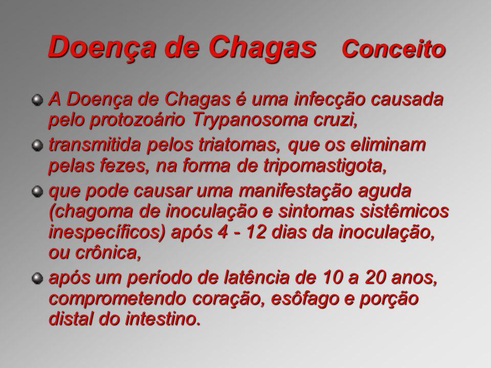 Doença de Chagas Conceito A Doença de Chagas é uma infecção causada pelo protozoário Trypanosoma cruzi, transmitida pelos triatomas, que os eliminam p