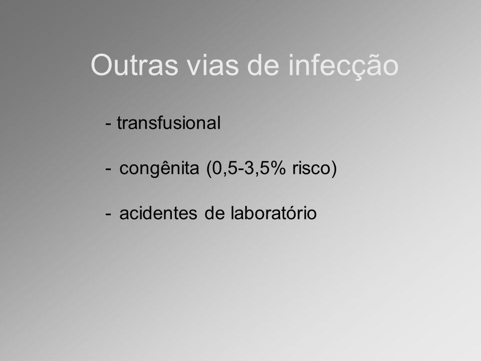 - transfusional -congênita (0,5-3,5% risco) -acidentes de laboratório Outras vias de infecção