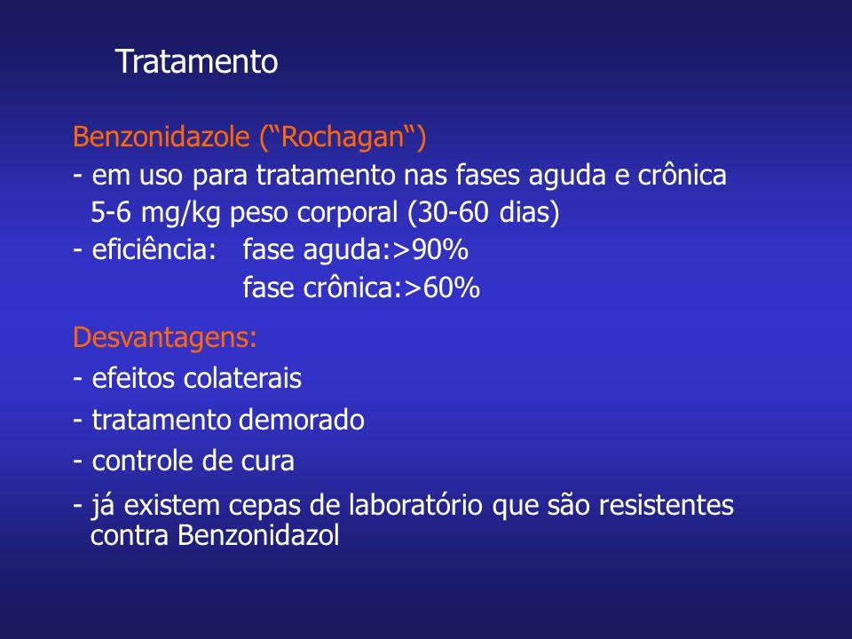 Tratamento Benzonidazole (Rochagan) - em uso para tratamento nas fases aguda e crônica 5-6 mg/kg peso corporal (30-60 dias) - eficiência: fase aguda:>