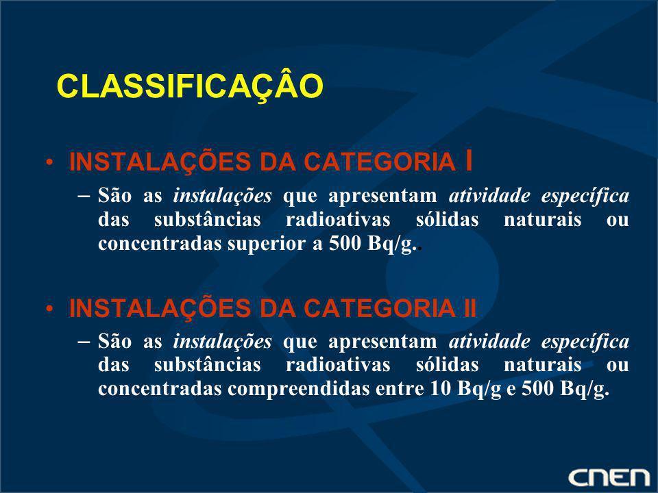 CLASSIFICAÇÂO INSTALAÇÕES DA CATEGORIA I – São as instalações que apresentam atividade específica das substâncias radioativas sólidas naturais ou conc