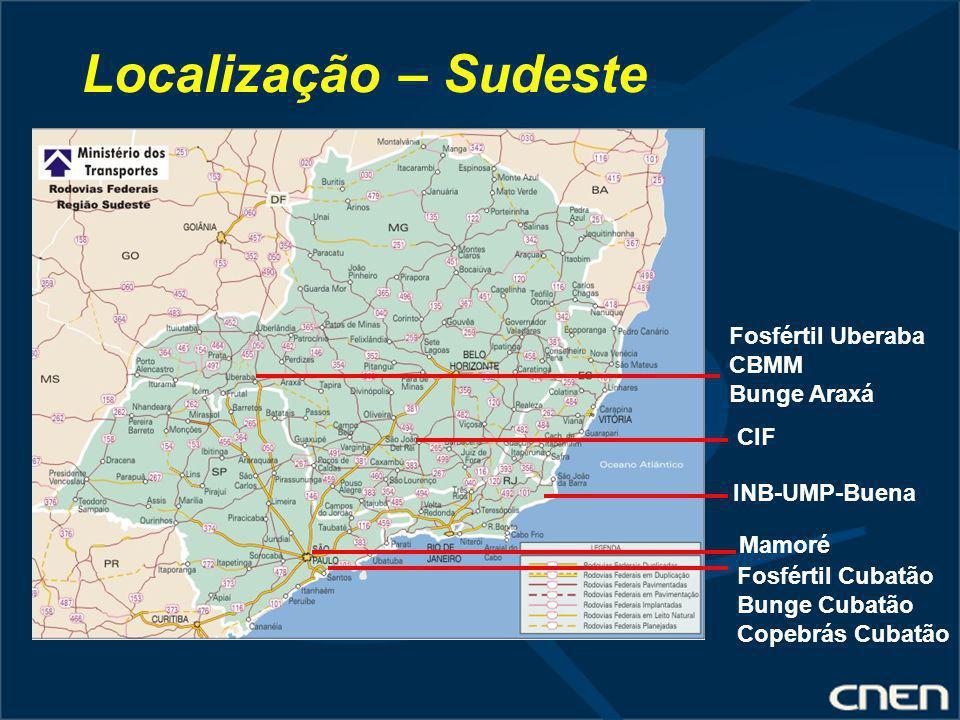 Localização – Sudeste Fosfértil Uberaba CBMM Bunge Araxá CIF INB-UMP-Buena Mamoré Fosfértil Cubatão Bunge Cubatão Copebrás Cubatão