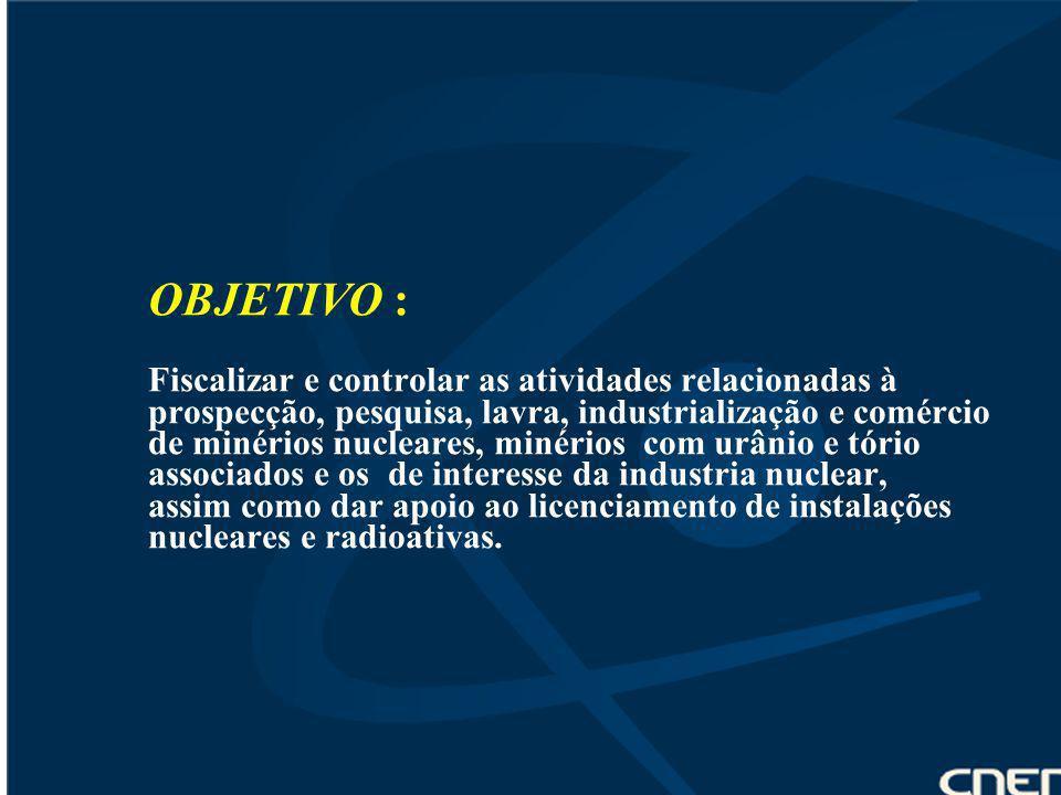 OBJETIVO : Fiscalizar e controlar as atividades relacionadas à prospecção, pesquisa, lavra, industrialização e comércio de minérios nucleares, minério
