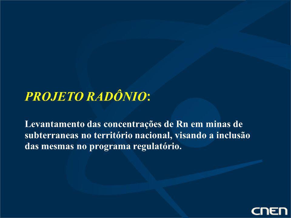 PROJETO RADÔNIO : Levantamento das concentrações de Rn em minas de subterraneas no território nacional, visando a inclusão das mesmas no programa regu