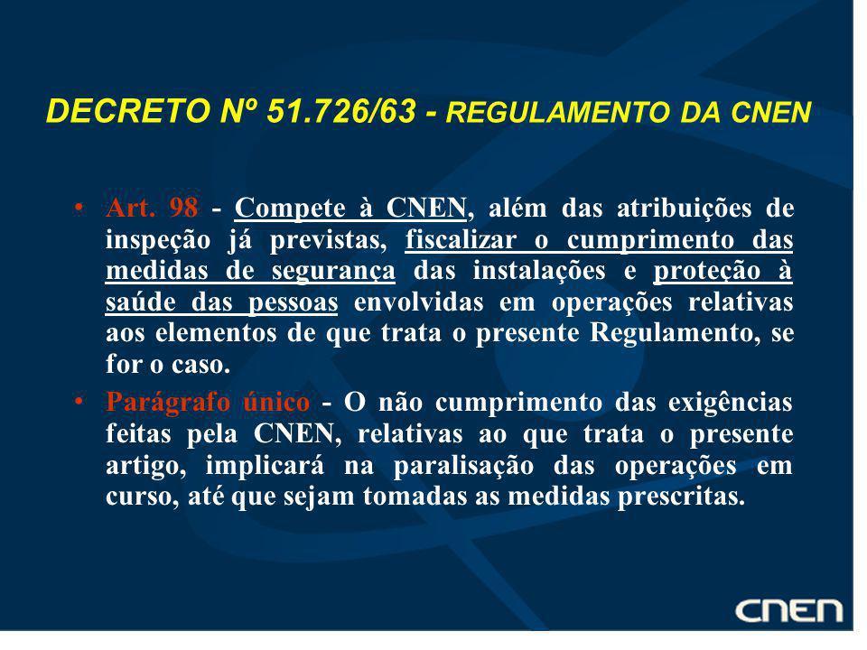 DECRETO Nº 51.726/63 - REGULAMENTO DA CNEN Art. 98 - Compete à CNEN, além das atribuições de inspeção já previstas, fiscalizar o cumprimento das medid