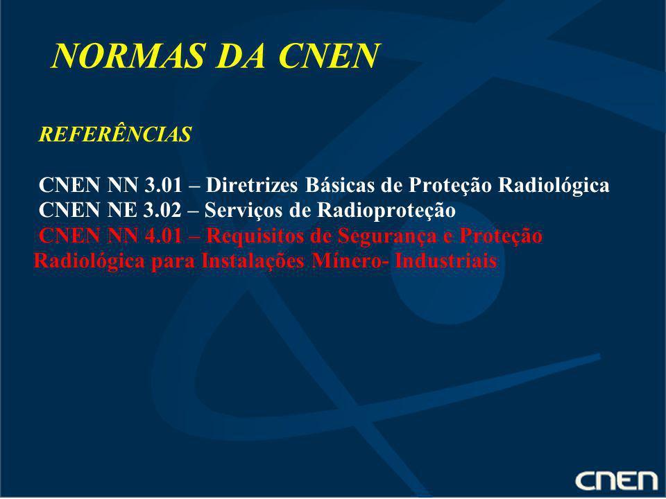 NORMAS DA CNEN REFERÊNCIAS CNEN NN 3.01 – Diretrizes Básicas de Proteção Radiológica CNEN NE 3.02 – Serviços de Radioproteção CNEN NN 4.01 – Requisito