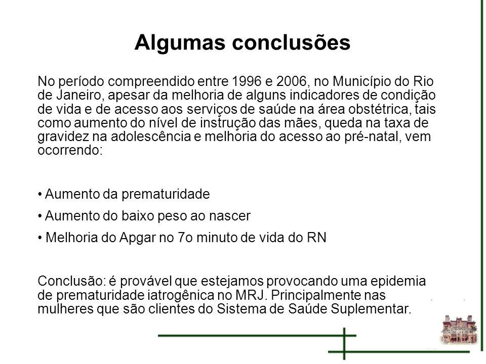 Algumas conclusões No período compreendido entre 1996 e 2006, no Município do Rio de Janeiro, apesar da melhoria de alguns indicadores de condição de