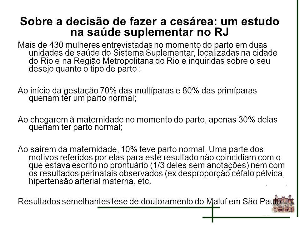 Sobre a decisão de fazer a cesárea: um estudo na saúde suplementar no RJ Mais de 430 mulheres entrevistadas no momento do parto em duas unidades de sa