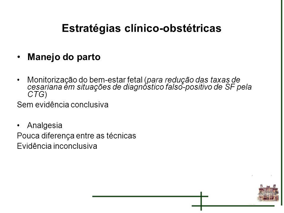 Estratégias clínico-obstétricas Manejo do parto Monitorização do bem-estar fetal (para redução das taxas de cesariana em situações de diagnóstico fals