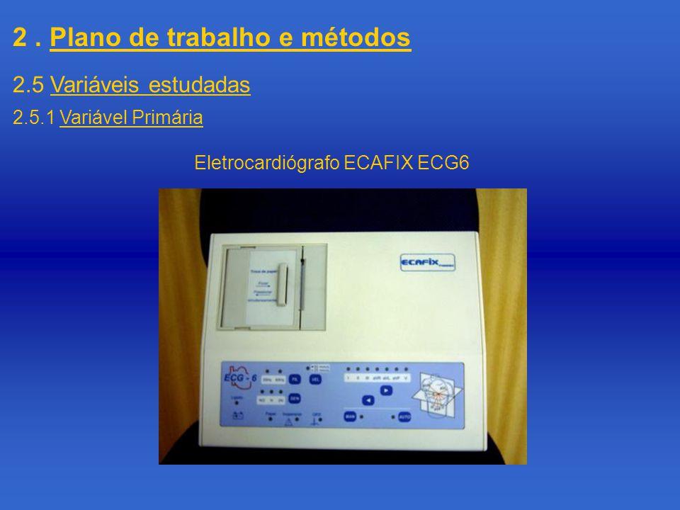 2. Plano de trabalho e métodos 2.5 Variáveis estudadas 2.5.1 Variável Primária Eletrocardiógrafo ECAFIX ECG6