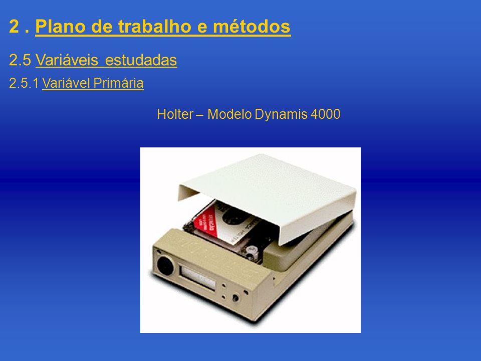 2. Plano de trabalho e métodos 2.5 Variáveis estudadas 2.5.1 Variável Primária Holter – Modelo Dynamis 4000