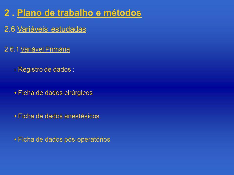 2. Plano de trabalho e métodos 2.6.1 Variável Primária 2.6 Variáveis estudadas - Registro de dados : Ficha de dados cirúrgicos Ficha de dados anestési