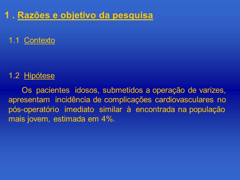 1. Razões e objetivo da pesquisa 1.1 Contexto 1.2 Hipótese Os pacientes idosos, submetidos a operação de varizes, apresentam incidência de complicaçõe