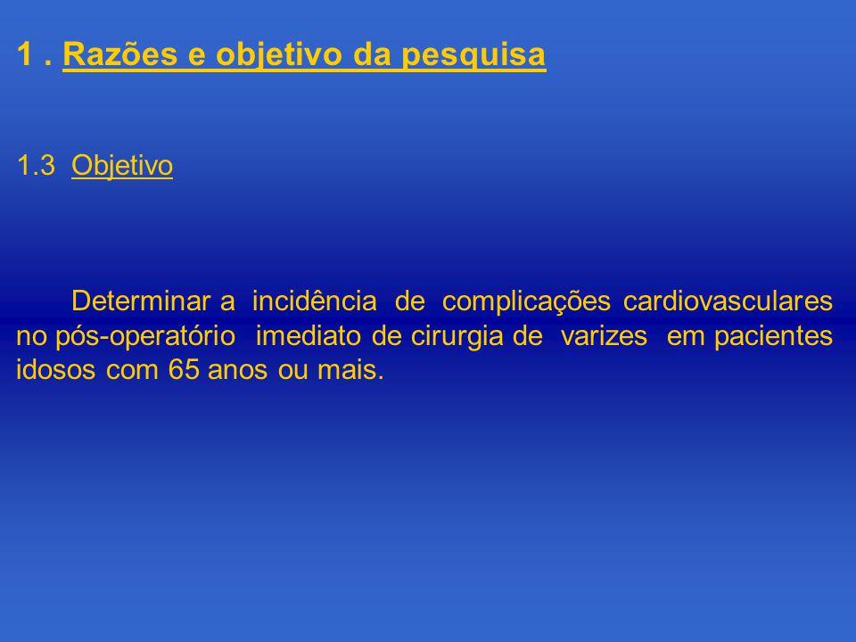 1. Razões e objetivo da pesquisa Determinar a incidência de complicações cardiovasculares no pós-operatório imediato de cirurgia de varizes em pacient
