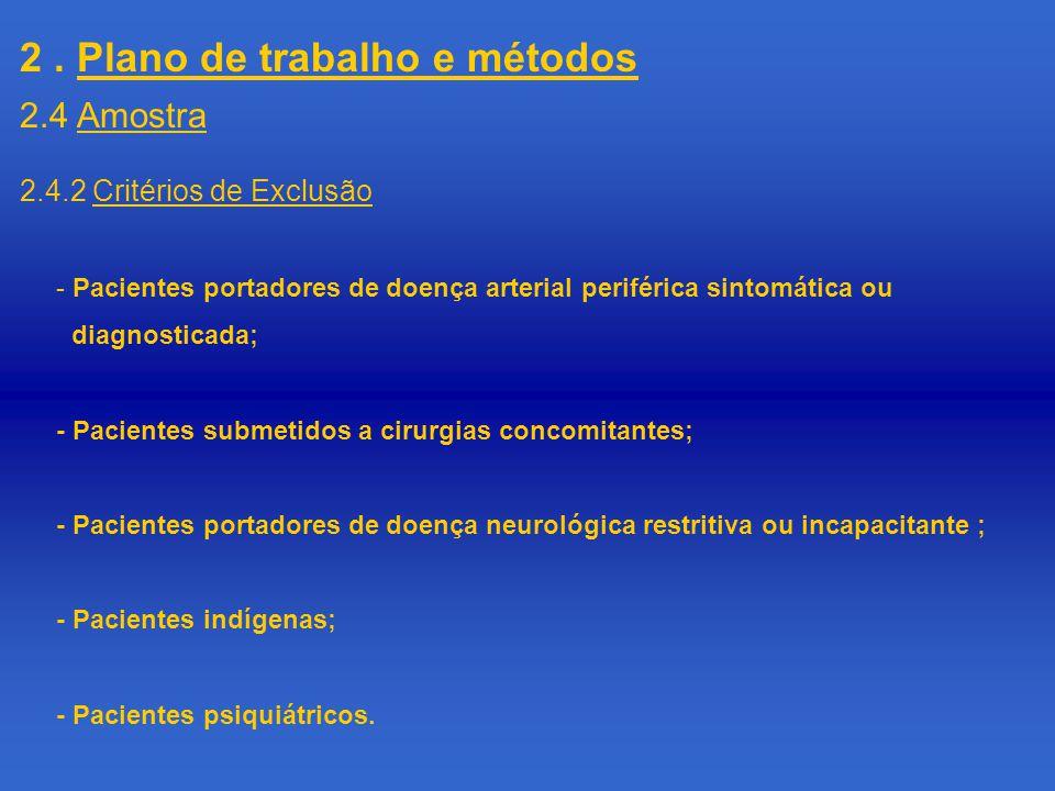 2. Plano de trabalho e métodos 2.4.2 Critérios de Exclusão - Pacientes portadores de doença arterial periférica sintomática ou diagnosticada; - Pacien
