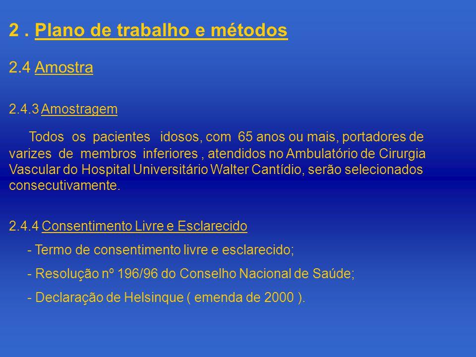 2.4.3 Amostragem Todos os pacientes idosos, com 65 anos ou mais, portadores de varizes de membros inferiores, atendidos no Ambulatório de Cirurgia Vascular do Hospital Universitário Walter Cantídio, serão selecionados consecutivamente.