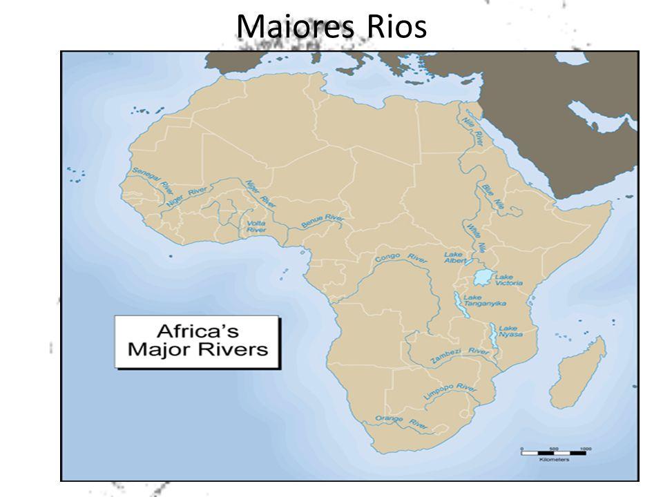 Maiores Rios As bacias dos rios Nilo, Congo, Níger, Zambeze, Orange e a bacia interior do lago Chade, a maior área de drenagem do continente. Entre os