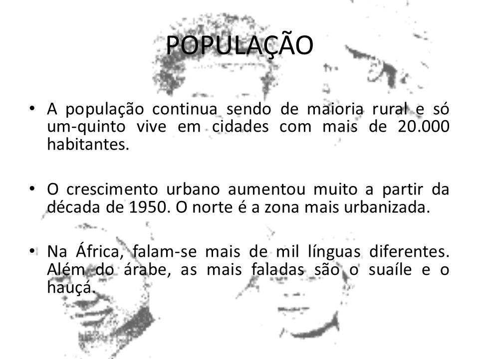 POPULAÇÃO Agrupados principalmente no norte da África, vivem 5 milhões de brancos de origem européia. Em meados da década de 1980, a população total e
