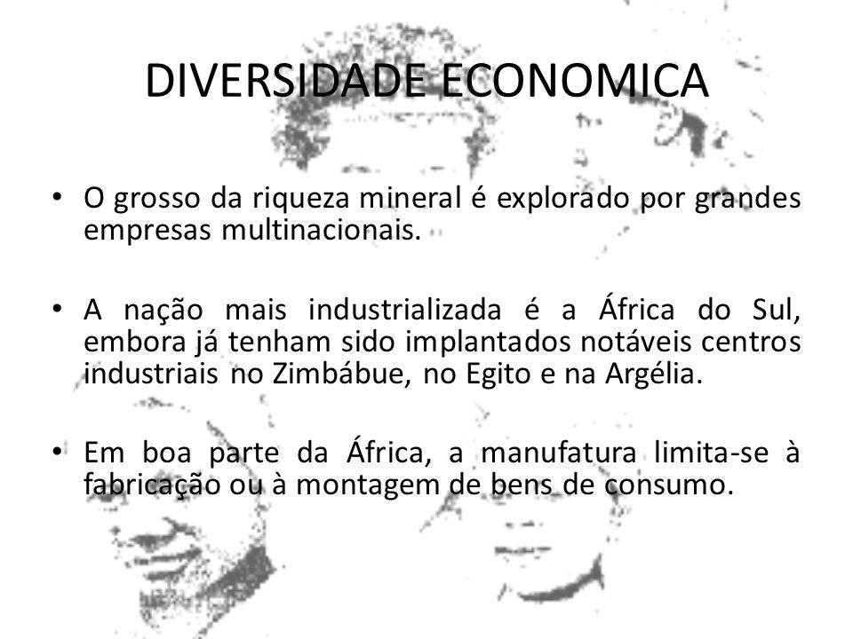 A África é riquíssima em recursos minerais. Possui a maioria dos minerais conhecidos, muitos deles em quantidades notáveis. Tem grandes jazidas de car