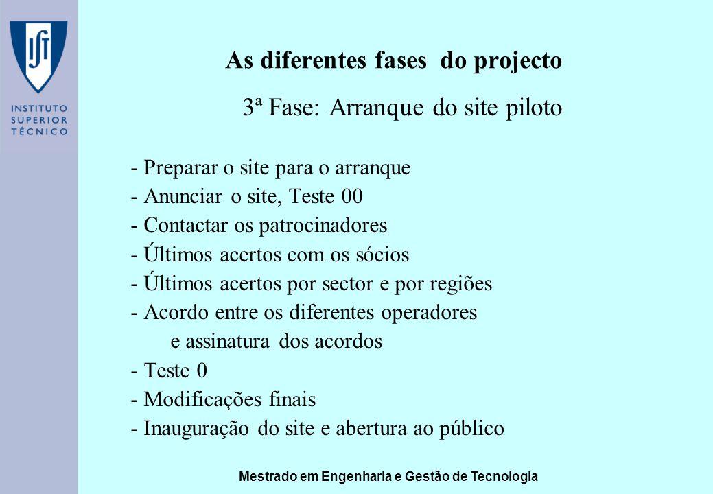 Mestrado em Engenharia e Gestão de Tecnologia As diferentes fases do projecto 3ª Fase: Arranque do site piloto - Preparar o site para o arranque - Anu