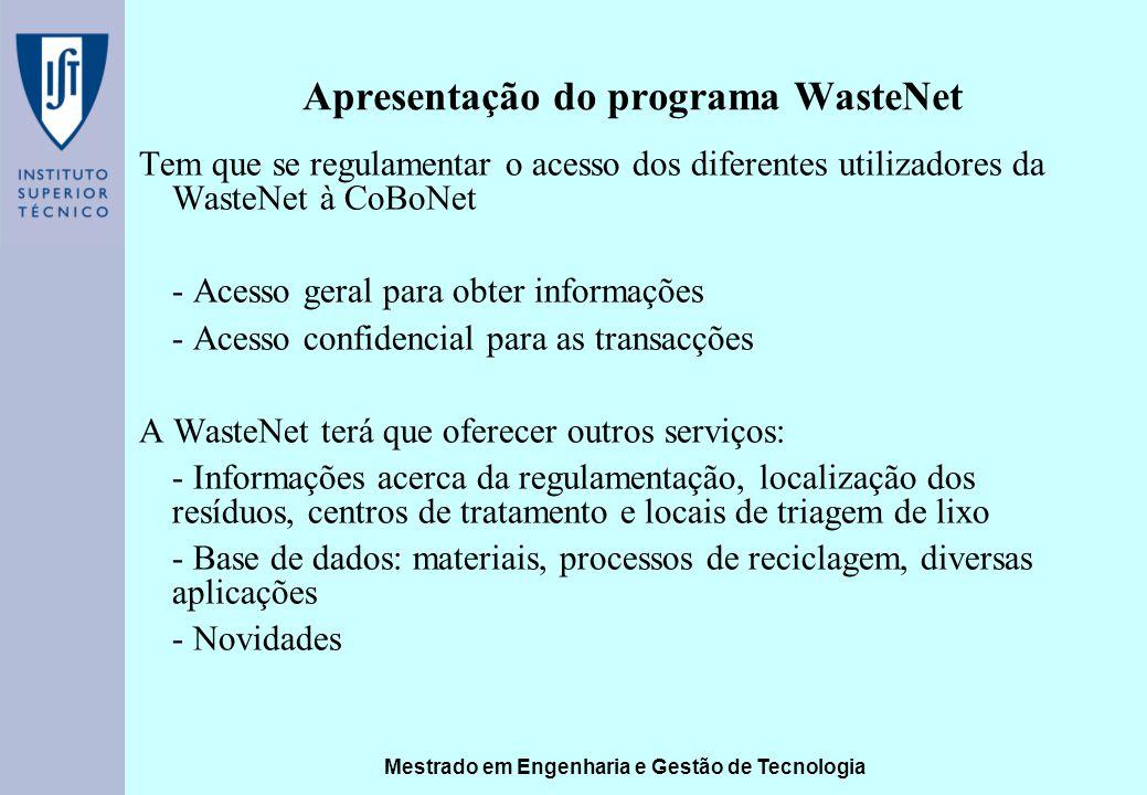 Mestrado em Engenharia e Gestão de Tecnologia Apresentação do programa WasteNet Tem que se regulamentar o acesso dos diferentes utilizadores da WasteN