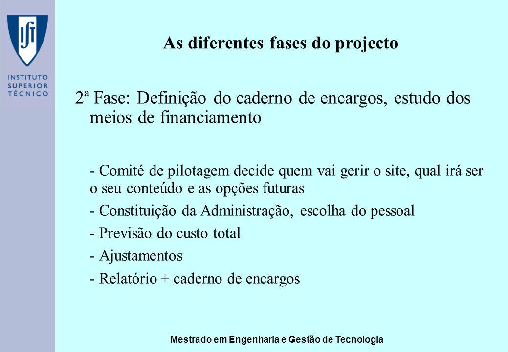 Mestrado em Engenharia e Gestão de Tecnologia As diferentes fases do projecto 2ª Fase: Definição do caderno de encargos, estudo dos meios de financiam