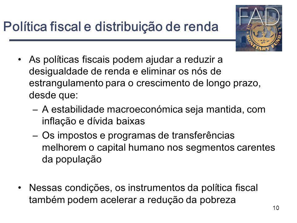 Política fiscal e distribuição de renda As políticas fiscais podem ajudar a reduzir a desigualdade de renda e eliminar os nós de estrangulamento para