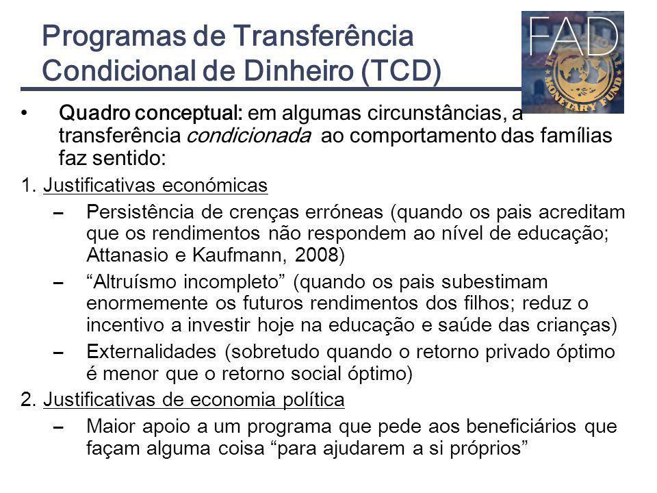 Programas de Transferência Condicional de Dinheiro (TCD) Quadro conceptual: em algumas circunstâncias, a transferência condicionada ao comportamento d