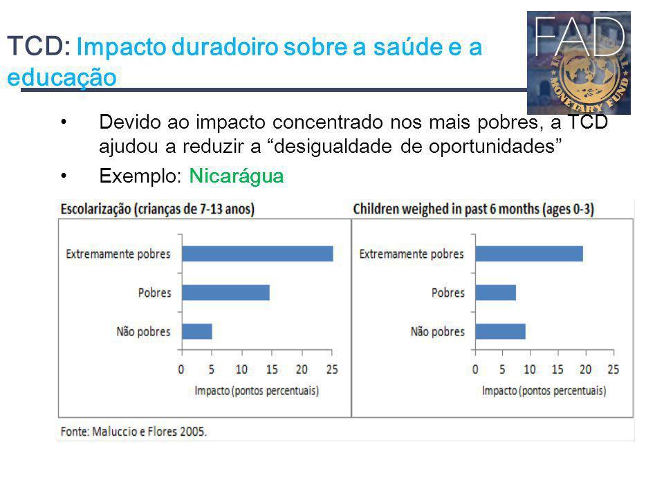 TCD: Impacto duradoiro sobre a saúde e a educação Devido ao impacto concentrado nos mais pobres, a TCD ajudou a reduzir a desigualdade de oportunidade