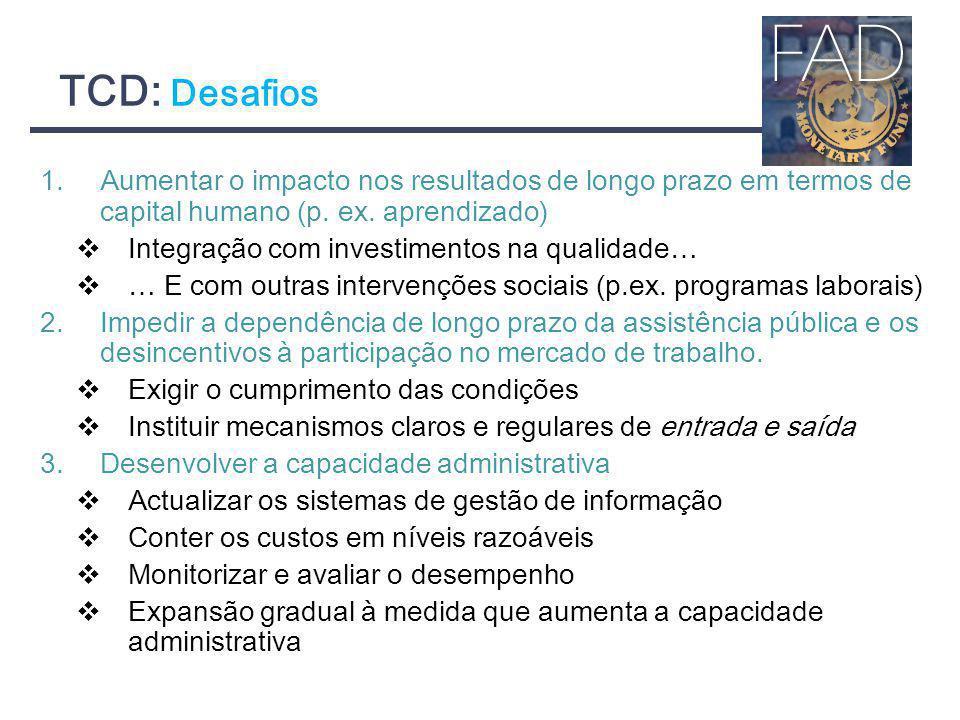 TCD: Desafios 1.Aumentar o impacto nos resultados de longo prazo em termos de capital humano (p. ex. aprendizado) Integração com investimentos na qual