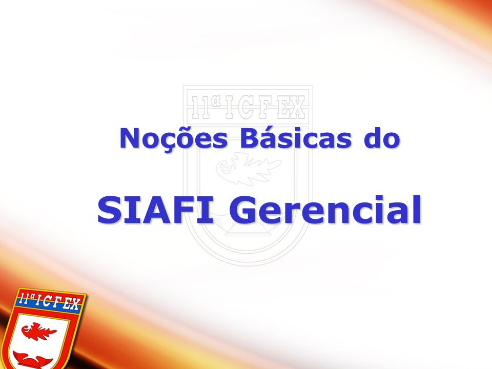 Noções Básicas do SIAFI Gerencial