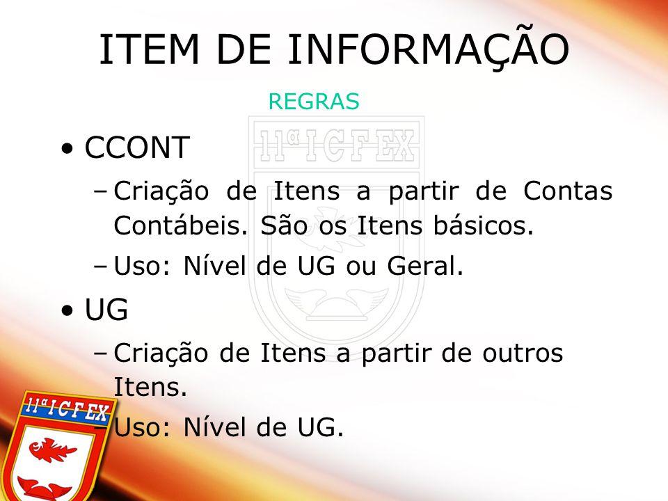 ITEM DE INFORMAÇÃO CCONT –Criação de Itens a partir de Contas Contábeis.