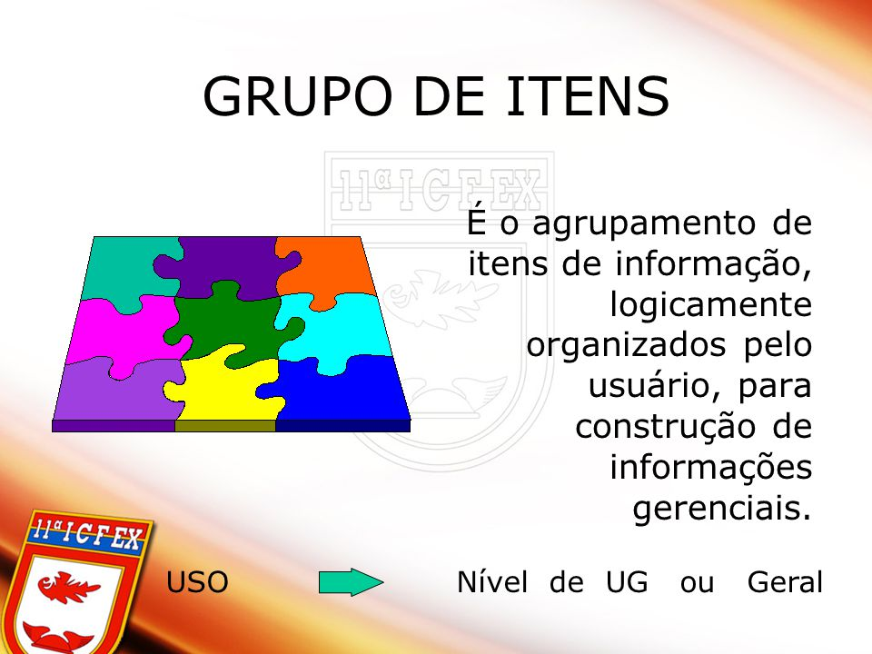 GRUPO DE ITENS É o agrupamento de itens de informação, logicamente organizados pelo usuário, para construção de informações gerenciais. USONível de UG