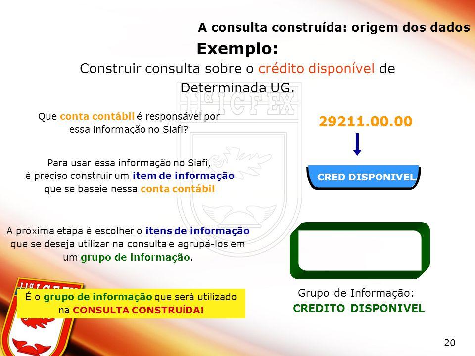20 CRED DISPONIVEL Exemplo: Construir consulta sobre o crédito disponível de Determinada UG. Que conta contábil é responsável por essa informação no S