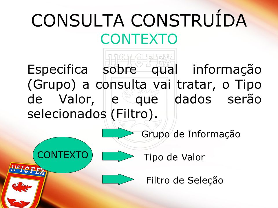 CONSULTA CONSTRUÍDA CONTEXTO Especifica sobre qual informação (Grupo) a consulta vai tratar, o Tipo de Valor, e que dados serão selecionados (Filtro).