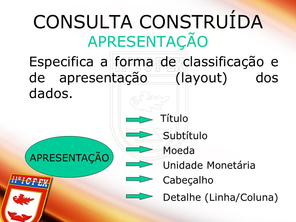 CONSULTA CONSTRUÍDA APRESENTAÇÃO Especifica a forma de classificação e de apresentação (layout) dos dados. APRESENTAÇÃO Título Subtítulo Moeda Unidade