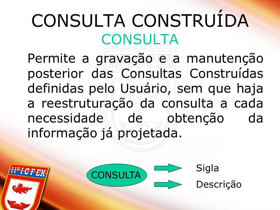CONSULTA CONSTRUÍDA CONSULTA Permite a gravação e a manutenção posterior das Consultas Construídas definidas pelo Usuário, sem que haja a reestruturação da consulta a cada necessidade de obtenção da informação já projetada.