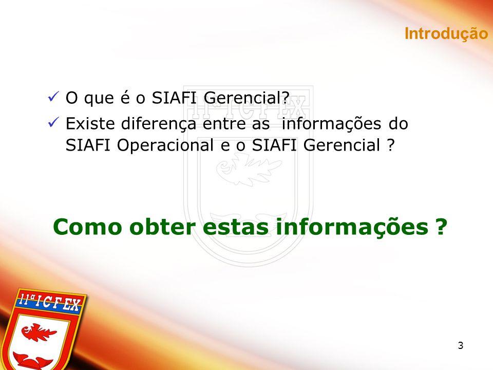 3 Introdução O que é o SIAFI Gerencial? Existe diferença entre as informações do SIAFI Operacional e o SIAFI Gerencial ? Como obter estas informações
