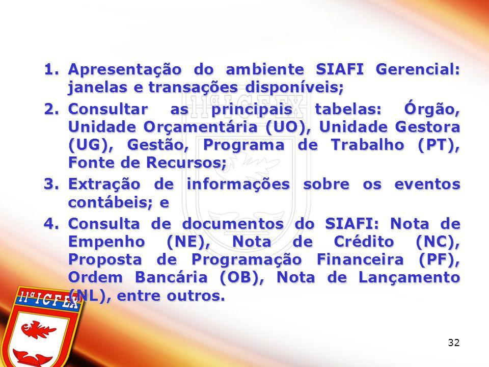 32 1.Apresentação do ambiente SIAFI Gerencial: janelas e transações disponíveis; 2.Consultar as principais tabelas: Órgão, Unidade Orçamentária (UO), Unidade Gestora (UG), Gestão, Programa de Trabalho (PT), Fonte de Recursos; 3.Extração de informações sobre os eventos contábeis; e 4.Consulta de documentos do SIAFI: Nota de Empenho (NE), Nota de Crédito (NC), Proposta de Programação Financeira (PF), Ordem Bancária (OB), Nota de Lançamento (NL), entre outros.