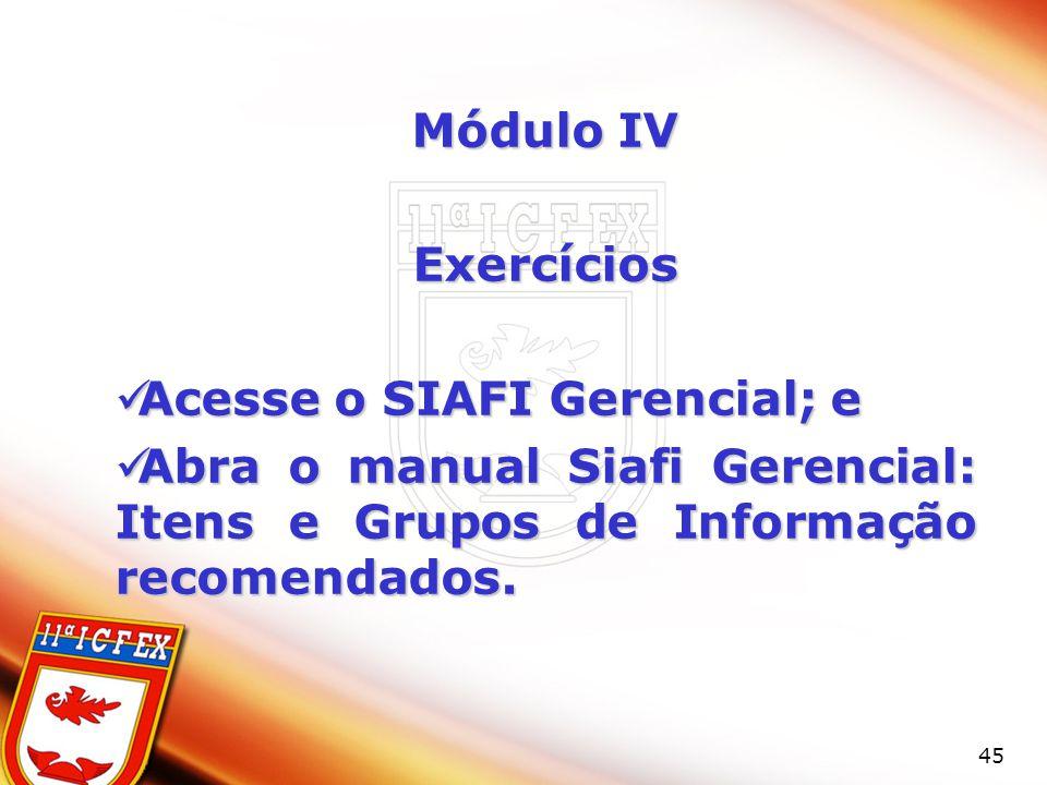 45 Módulo IV Exercícios Acesse o SIAFI Gerencial; e Acesse o SIAFI Gerencial; e Abra o manual Siafi Gerencial: Itens e Grupos de Informação recomendados.