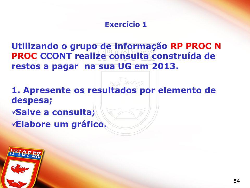 54 Exercício 1 Utilizando o grupo de informação RP PROC N PROC CCONT realize consulta construída de restos a pagar na sua UG em 2013. 1. Apresente os