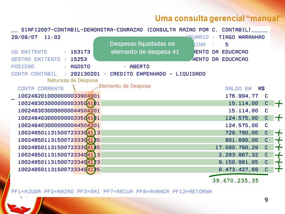 SAÍDA DA CONSULTA CONSTRUÍDA PLANILHA EXCEL Facilidades(Excel) –Gráficos –Edição –Cálculos –Gravação –Impressão Barra de Ferramentas –GRÁFICO PADRÃO –TIPOS DE GRÁFICO –GERAR GRÁFICO –CALCULAR TOTAIS –PORCENTAGEM –IMPRESSÃO RÁPIDA