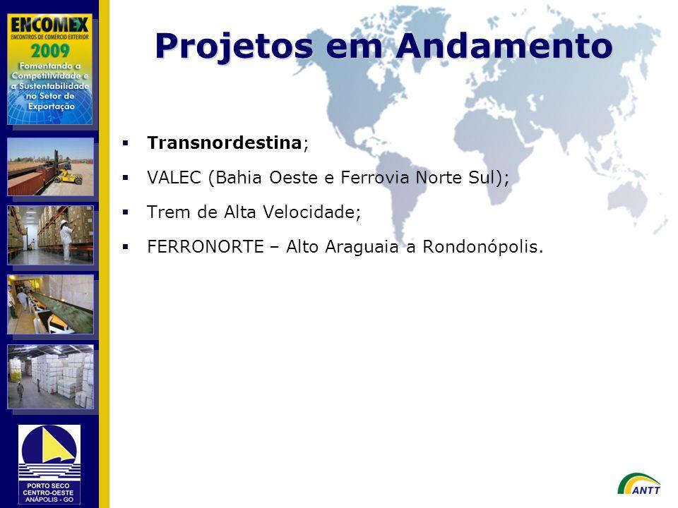 Transnordestina; VALEC (Bahia Oeste e Ferrovia Norte Sul); Trem de Alta Velocidade; FERRONORTE – Alto Araguaia a Rondonópolis. Projetos em Andamento