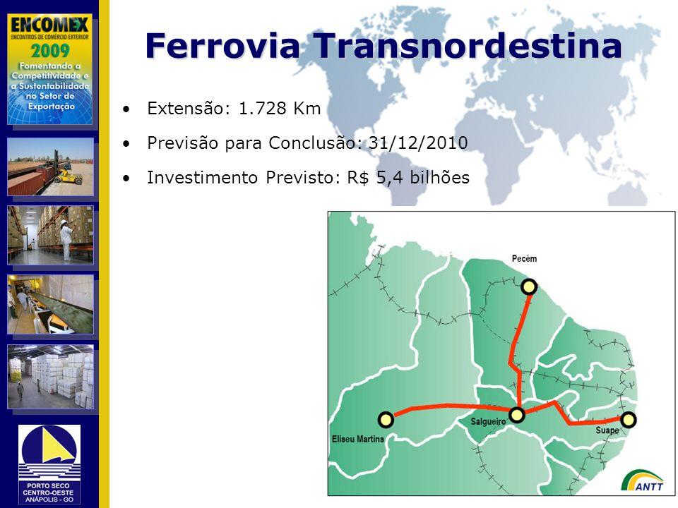 Ferrovia Transnordestina Extensão: 1.728 Km Previsão para Conclusão: 31/12/2010 Investimento Previsto: R$ 5,4 bilhões