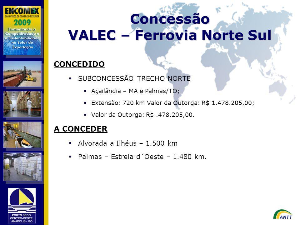 CONCEDIDO SUBCONCESSÃO TRECHO NORTE Açailândia – MA e Palmas/TO; Extensão: 720 km Valor da Outorga: R$ 1.478.205,00; Valor da Outorga: R$.478.205,00.