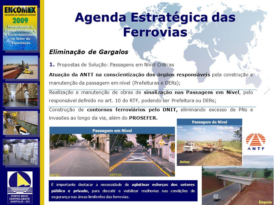 Agenda Estratégica das Ferrovias Eliminação de Gargalos 1. Propostas de Solução: Passagens em Nível Críticas Atuação da ANTT na conscientização dos ór