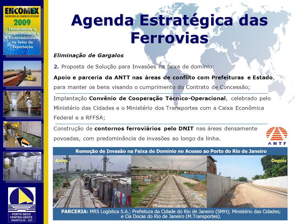 Agenda Estratégica das Ferrovias Eliminação de Gargalos 2. Proposta de Solução para Invasões na faixa de domínio: Apoio e parceria da ANTT nas áreas d